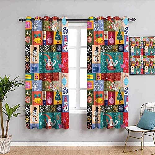MXYHDZ Blackout Curtains for Bedroom - Colorful christmas tree santa claus snowman - 3D Print Pattern Eyelet Thermal Insulated - 86 x 85 inch - 90% Blackout Curtains for Kids Boys Girls Playroom