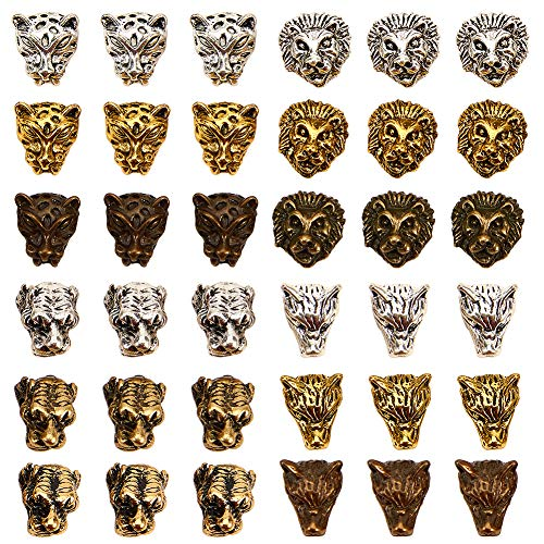 SUNNYCLUE 1 Box 36Pcs Lion Head Loose Spacer Bead for Jewelry Making Antique Silver Bronze Gold Leopard Wolf Tiger Head Charms Pendants Craft Supplies Findings Accessory for DIY Bracelet Necklace
