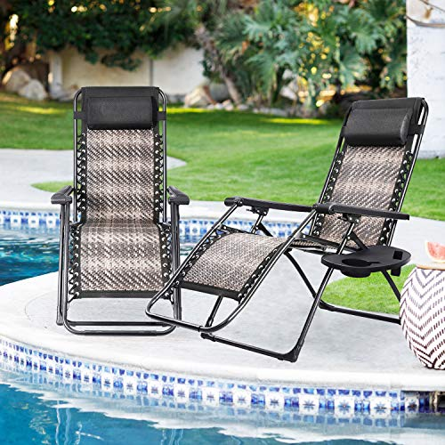 SUNCROWN Rattan Zero Gravity Reclining Lounger Set of 2 with Cup Holder, Detachable Headrest, Adjustable Patio Lounge Chair for Outdoor, Beach, Porch, Swimming Pool, Lawn