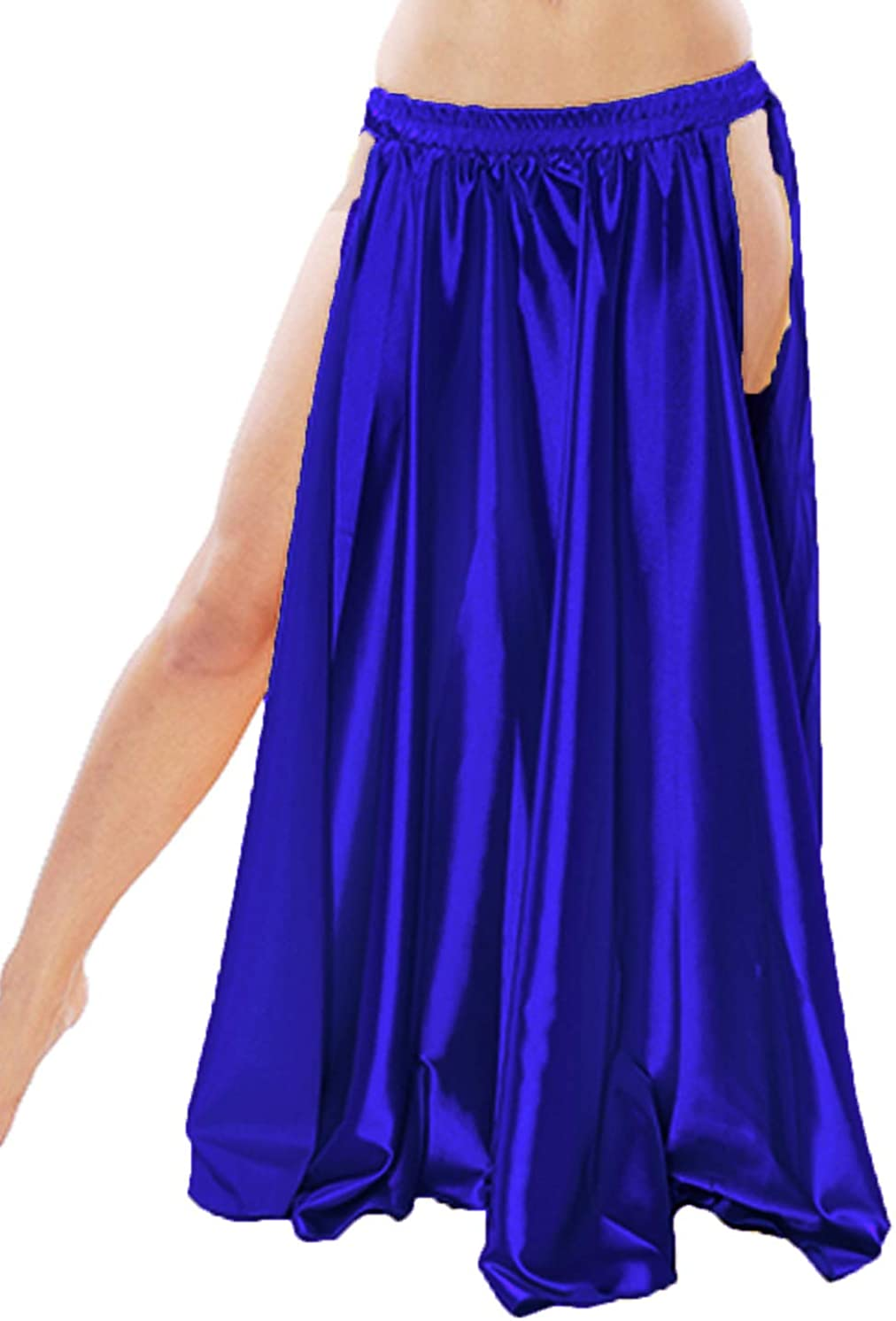 Meek Mercery Women Skirt Belly Dance Satin Side Slit A Line Skirt Pannel Skirt Tribal One Size S1
