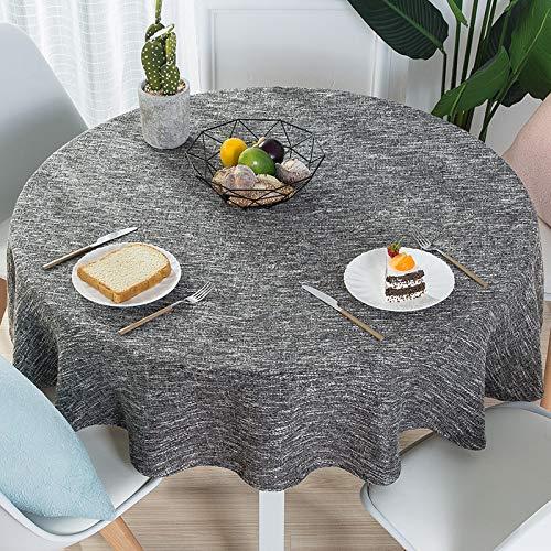 DJUX Moderno Simple algodón y Lino pequeño Mantel Fresco hogar Mantel Redondo de Color Puro Mantel de Mesa Redonda Grande 200cm