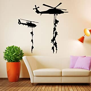 ufengke home Military Helicopter Silhouette Wall Art Stickers With Soldiers & Hanging Ladders Creative Decorative Removable DIY Vinyl Wall Decal Living Room, Bedroom Mural