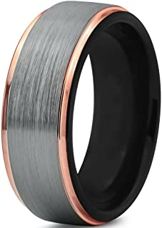 Tungsten Wedding Band Ring 6mm for Men Women Black Rose Yellow Gold Plated Step Edge Brushed Polished