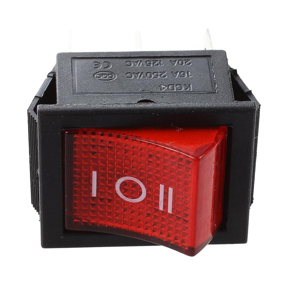 政治長方形誓いNoblik 5件のDPDT赤のネオンライトオン/オフ/オンロッカースイッチ AC 250V/15A 125V/20A