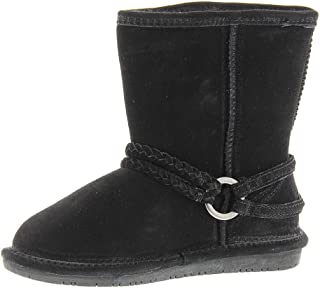 Bearpaw Adele Youth Wool Closed Toe Mid-Calf Cold, Black II, Size 7 M US Youth