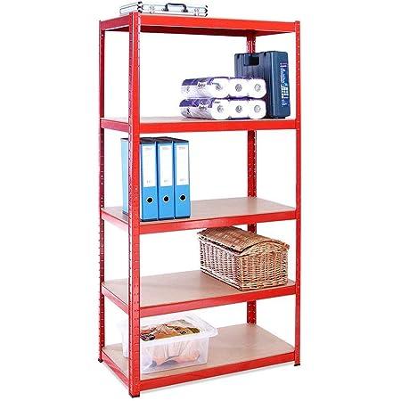Rangement Garage: 180 cm x 90 cm x 45 cm | Rouge - 5 Niveaux | 265 kg par Tablette (Capacité Totale de 1325 kg) | Garantie de 5 Ans