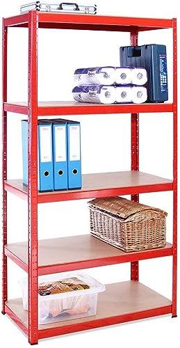 Rangement Garage: 180 cm x 90 cm x 45 cm | Rouge - 5 Niveaux | 265 kg par Tablette (Capacité Totale de 1325 kg) | Gar...