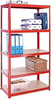 Rangement Garage: 180 cm x 90 cm x 45 cm | Rouge - 5 Niveaux | 265 kg par Tablette (Capacité Totale de 1325 kg) | Garantie...