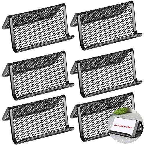 SourceTon - Soporte de metal para tarjetas de visita, soporte para tarjetas de visita de oficina o de negocios, organizador de 50 tarjetas, 6 paquetes