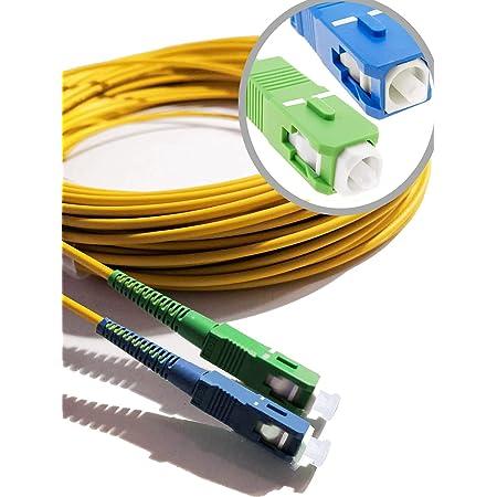 Elfcam® - Câble à Fibre Optique (jarretière Optique) Compatible SC/APC à SC/UPC Compatible Free Box (1M)