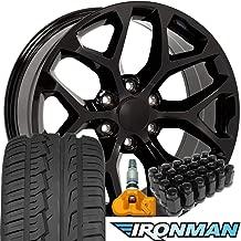 OE Wheels 22 Inch Fit Chevy Silverado Tahoe GMC Sierra Yukon Cadillac Escalade CV98 Black 22x9 Rims Ironman iMove Gen2 All Season Tires Lugs TPMS Hollander 5668 SET