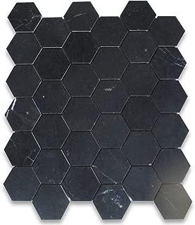 Nero Marquina Black Marble Hexagon Mosaic Tile 2 inch Honed