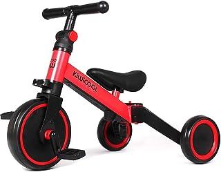 Kiwicool 3 in 1 Kids Tricycles for 1.5-4 Years Old Kids Trike 3 Wheel Bike Boys Girls 3 Wheels Toddler Tricycles ,color red