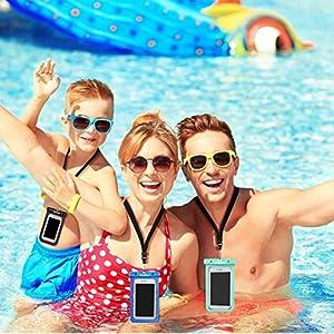 ivoler [IPX8 Certificado] [3 Unidades] Funda Bolsa Móvil Impermeable Universal para Xiaomi, iPhone, Samsung Galaxy, Huawei, Smartphones, Monedas, Pasaporte, etc. (Negro/Azul/Verde)