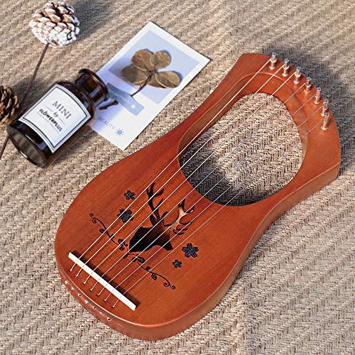 WHR-HARP Harfe, 7 Metallsaiten Sattel Mahagoni Harfe Mit StimmschlüSsel und Ersatzsaiten, Professionelles Geschenk für Kinder und Erwachsene Anfänger, 33 * 17 * 3,5 cm,Woodcolor