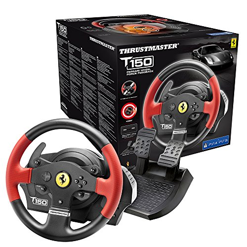 Thrustmaster T150 Ferrari Wheel Force Feedback - 1080° Force-Feedback-Basis mit Immersion TouchSense Technologie fur PS4 und PC - Kompatibel mit PS5-Spielen