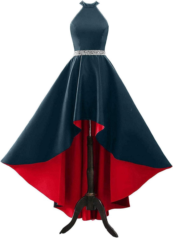 Women's Halter 国内在庫 Satin Prom Dress バーゲンセール High Low Evening Lon Beaded Gown