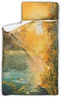 Andrea Sam Baby Mat Country,Pastel Color Sunset on The Lake in Fall Autumn Scenery in Retro Art Drawing, Green Orange Blue for Girl Boys Daycare Preschool Soft 3-7 Years