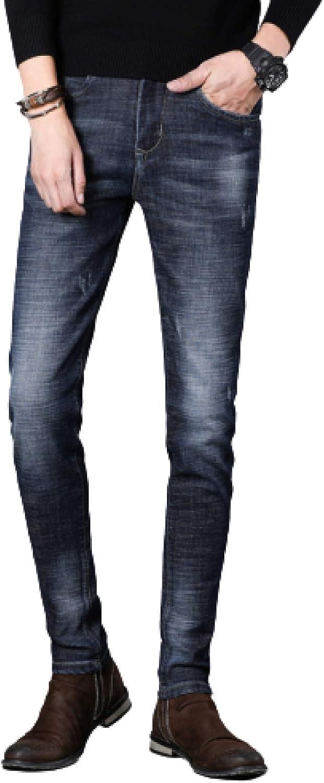 Men's Jeans Autumn East Stretch Slim Dark Denim Washed Trousers Zipper Placket