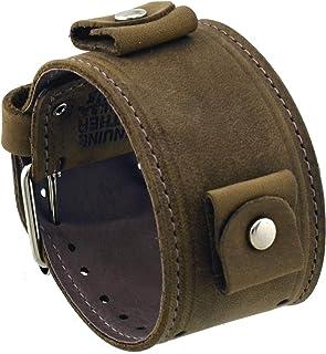 ネメシス# lbb-cs Wide Chestnutブラウン革カフ腕時計バンド