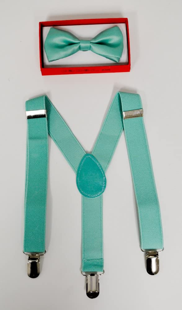 Teal Suspender and Bow Tie for Toddler Baby Boys Girls Child Under Age of 6 by Four-seasonstore