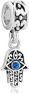 Q&Locket 925 Sterling Silver Evil Eye Hamsa Hand Fatima Good Luck Charm For Bracelet