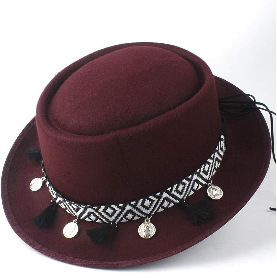 L.W.SUSL Women Pork Pie Hat Lady Wool Fedora Hat Outdoor Casual Flat Tassel Wild Hat Size 58CM (Color : Wine red, Size : 58)