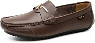 Fashion Penny Loafers for Men Genuine Leather Business Dress Fashion Casual Boat Shoes Flat Lightweight Slip-on Round Toe Breathable Men's Boots (Color : Darkbrown, Size : 8 UK)