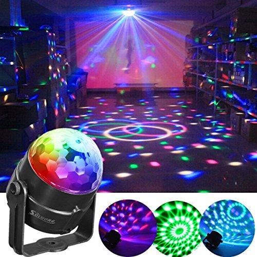 Luci Discoteca LED, SOLMORE Mini Luci da Palco Attivazione Vocale palla Lampada Magica LED RGB Effetto Fase Lampada da Discoteca per Festa Compleanno KTV Discoteca bar DJ