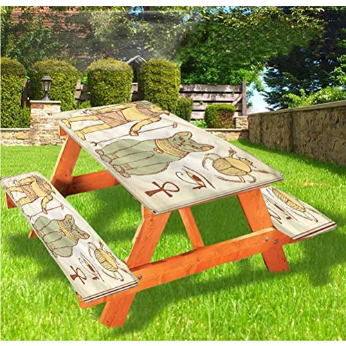 Egyptian Picnic Table and Bench Fitted Tablecloth Cover,Ancient Cat Figure Elastic Edge Fitted Tablecloth,28 x 72 Inch, 3-Piece Set for Camping, Dining, Outdoor, Park, Patio
