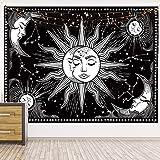 Psicodélico Tarot Card Astrología Brujería Tapiz Sol Luna Tapiz Pared Hippie Cielo Tapiz de pared Manta A1 180x200cm