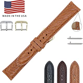 Made in The USA - Quick Release Arizona Genuine Leather Watch Band Strap - American Factory Direct - Gold and Silver Buckles – Perfect for Vintage and Newer Watches – Real Leather Creations