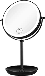 """KEDSUM Rechargeable 1X/10X Lighted Magnifying Makeup Mirror, 8"""" Double Sided Magnifying Vanity Mirror with 3 Color Lights,..."""
