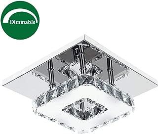 Ganeed Crystal Ceiling Light,Dimmable Adjustable LED Flush Mount Ceiling Light, Modern Square Mini Chandelier for Dining Room Living Room Bedroom Hallway(7.9 Inch/12W/3000-6500K)