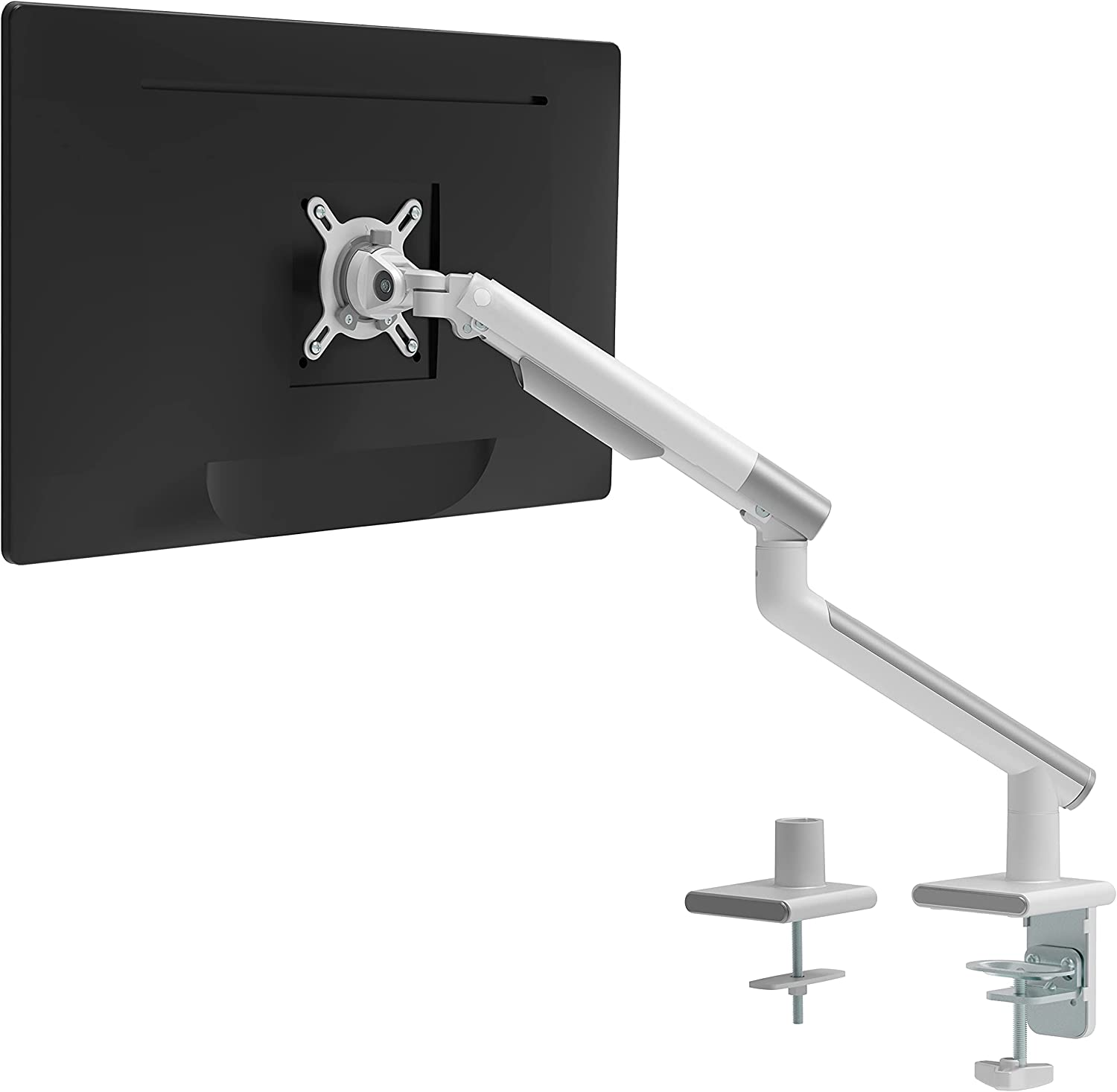 WALI Single Monitor Mount with Mechanical Spring Tension Indicator Fully Adjustable VESA Bracket with Clamp, Grommet Mounting Base for Display Up to 32 inch, 22lbs Weight Capacity (MATI001-W), White