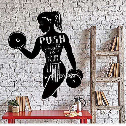 TYLPK Einfaches Design Wand Vinyl Aufkleber Sport Zitat Worte Push Your Limits Gym Innendekoration Artr Murals selbstklebende Geschenk schwarz 42x50cm
