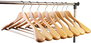 meqution Coat Hanger 8-Pack, Wood Hangers Trouser Hangers Extra Wide Shoulder Wooden Hangers for Heavy Coat, Sweater, Skirt, Suit, Pants, Retro Finish (Natural Finish)