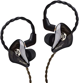 in Ear Monitor Headphones for Musicians Singers, BASN Bsinger 2nd Sound Isolating Earphones with Dual Dynamic Driver Detachable MMCX Cable (Black)