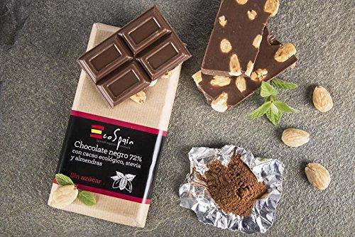 Chocolat noir 72% de cacao biologique avec des amandes et de la stevia. Cacao biologique. Sans sucre ajouté. 150 gr. Convient aux diabétiques. Sans gluten. Produit Gourmet