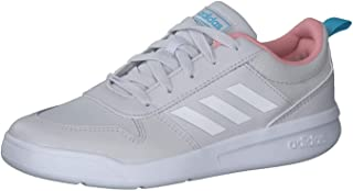 adidas Tensaur K Grey/Glow Pink Leather Child Trainers Shoes