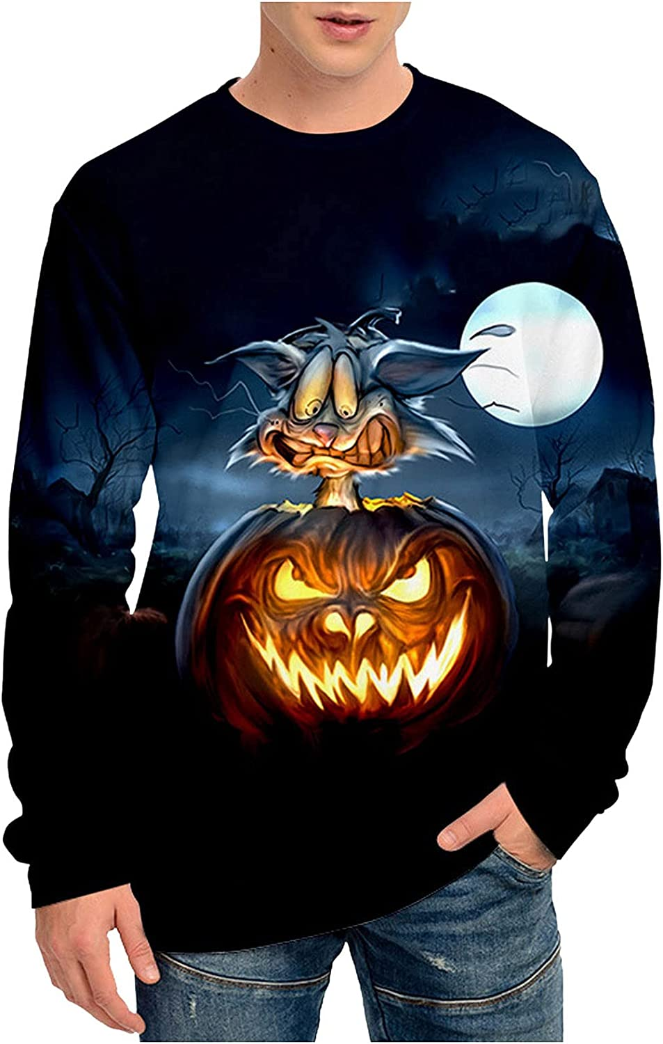 Tops for Men Halloween 3D Printed Pumpkin Fashionable Gh Department store Sleeve Long Fashion