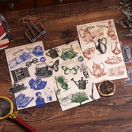 Pegatinas para álbumes de recortes, Lychii 240 pegatinas de decoración de PVC con elementos retro, pegatinas adhesivas de diseño vintage para álbumes de recortes, planificador de calendarios