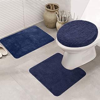 ele ELEOPTION Lot de 3 tapis de bain et tapis de WC antidérapants à séchage rapide pour salle de bain et cuisine - Doux et...