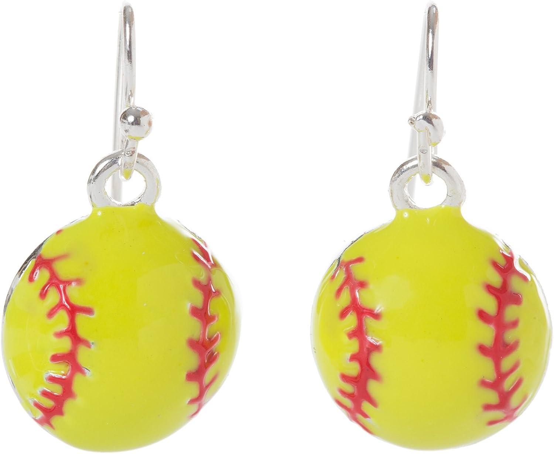 Artisan Owl - Softball Baseball Sport Enamel Dangle Earrings