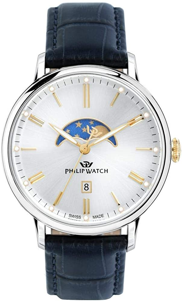 Philip watch orologio fasi lunari uomo con cinturino in pelle R8251595001