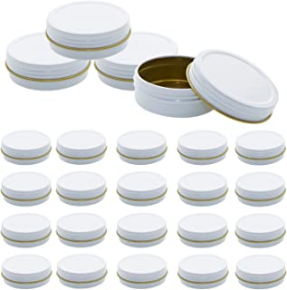 Mimi Pack 2 oz Tins 24 Pack of Shallow Screw Top Round Tin Containers with Lids For Cosmetics, Party Favors and Gifts (White)