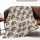 Eyesoul Pesonalized Face Blanket - Print Your Faces on Our Custom Blanket, Soft Fleece Blanket for Couch Bed Sofa, 50'x60'