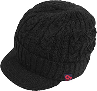 Men Wool Blend Cable Knitted Visor Beanie Winter Knit Hat with Brim Fur Lined Ski Cap