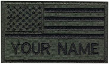 Custom Name Text Green Army American Flag Embroidered Morale Patch Hook Backing