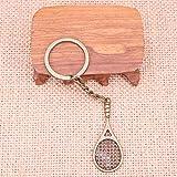 HUIZHANG Mode Porte-clés 48X19Mm Raquette de Tennis pendentifs Bricolage Hommes Bijoux Voiture Porte-clés Porte-Anneau Souvenir pour Cadeau